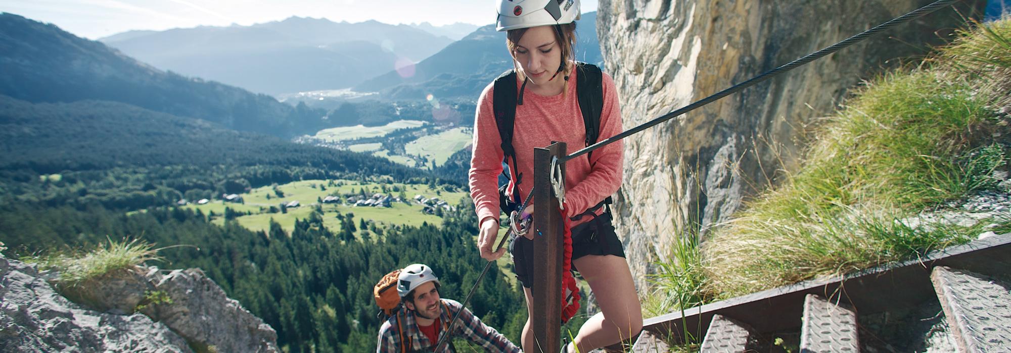 Wandern Flims verbunden mit klettern
