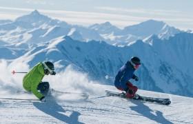 Skiferien Laax Skifahrer